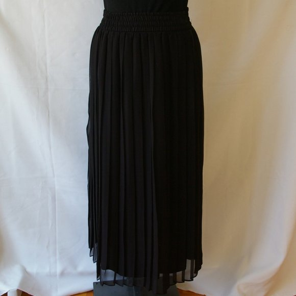 Vintage Dresses & Skirts - Vintage Cami Sport Black Sheer Pleated Skirt